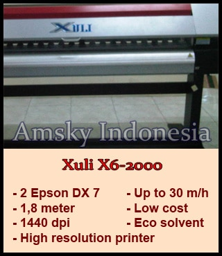 Mesin digital printing Xuli X6-2000 indoor